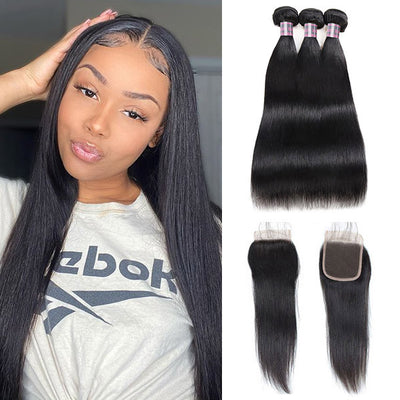 Brazilian Straight Hair 100% Virgin Human Hair 3 Bundles With 4*4 Lace Closure