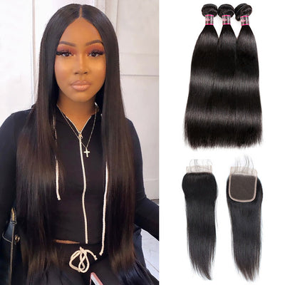 Hairsmarket Brazilian Virgin Hair 8A Straight 3 Bundles With Lace Closure