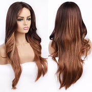 Long Lace Front Wig Middle Part Synthetic T1B/Blonde Lace Front Wig