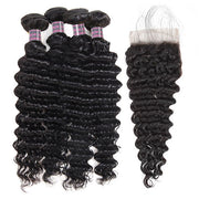 Ishow 4 Bundles Deep Wave Virgin Human Hair With Lace Closure Unprocessed Indian Hair
