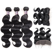 Ishow 8A Indian Virgin Human Body Wave 3 Bundles With 13*4 Lace Frontal Virgin Human Hair