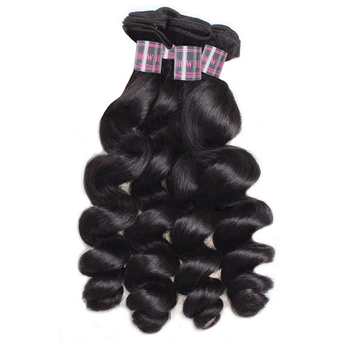 Ishow Virgin Loose Wave Human Hair 4 Bundles Unprocessed Indian Hair