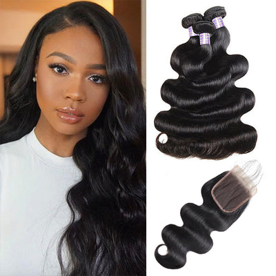 9A Allove Body Wave Virgin Hair 3 Bundles With One FREE Closure