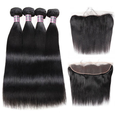 Ishow Indian Straight Human Hair 4 Bundles With 13x4 Lace Frontal For Sale