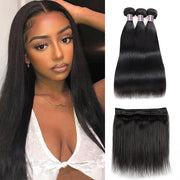Malaysian Straight Human Hair 3 Bundles With 4*4 Lace Closure
