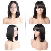 Short BOB Lace Front Wigs, 100% Human Hair Wigs, No Lace Wigs With Bang