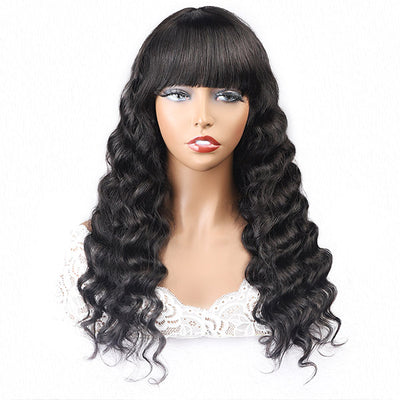 Loose Deep Virgin Human Hair Wigs, No Lace Wigs With Bangs