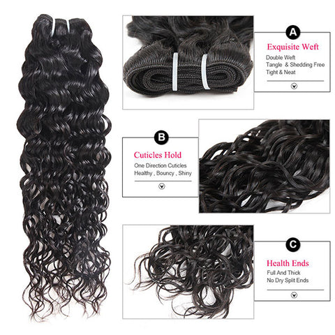 Ishow Water Wave Hair 4 Bundles Deals With 4x4 Closure Unprocessed Indian Hair For Sale