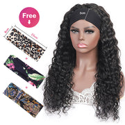 Water Wave Virgin Human Hair Wigs with Headband Half Wigs