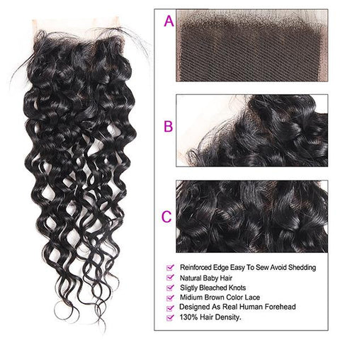 Water Wave Virgin Human Hair With Lace Closure 10A Virgin Hair 4*4 Customized Lace Wigs