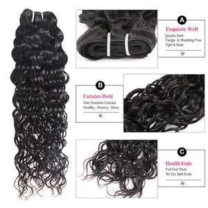 Ishow Water Wave Human Hair 4 Bundles With Lace Frontal Virgin Indian Hair Extensions