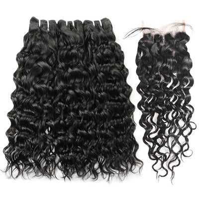 10A Brazilian Hair Water Wave Virgin Hair 3 Bundles With Lace Closure