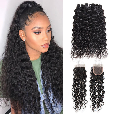Hairsmarket Brazilian Virgin Hair Water Wave 3 Bundles With Lace Closure
