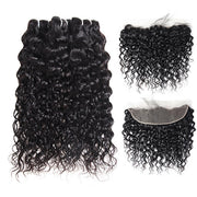 Hairsmarket Brazilian Water Wave Virgin Human Hair 3 Bundles With 13x4 Lace Frontal On Sale