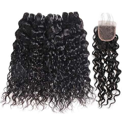 Ishow Malaysian Water Wave Virgin Human Hair 4 Bundles With Lace Closure