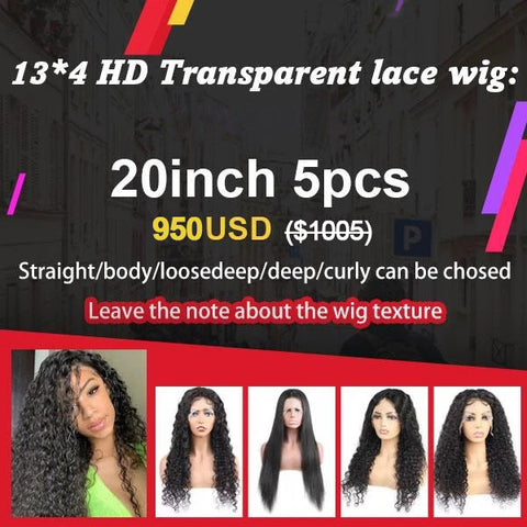 $950 13*4 Transparent Lace Front Wig Package Deal  (20 Inch 5PCS)