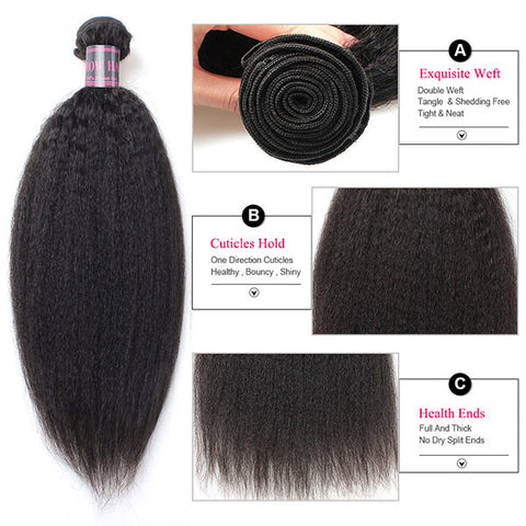 Ishow Virgin Kinky Straight Human Hair 4 Bundles Unprocessed Malaysian Hair