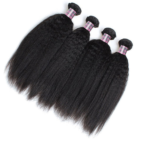 Ishow Peruvian Kinky Straight Human Hair 4 Bundles With 4x4 Lace Closure Virgin Hair Weaving