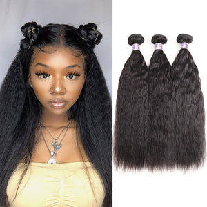 Allove 8A Peruvian Yaki Straight Hair Weaving 3 Bundles 100% Human Hair