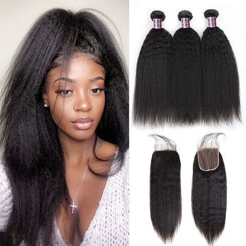 Ishow Brazilian Yaki Straight Hair 3 Bundles With 4*4 Lace Closure Virgin Human Hair