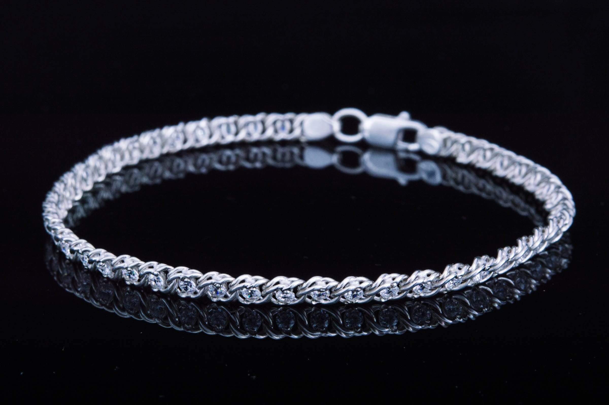 Ancient Smithy VW jewelry Handmade Bracelet with White Cubic Zirconia Sterling Silver Jewelry