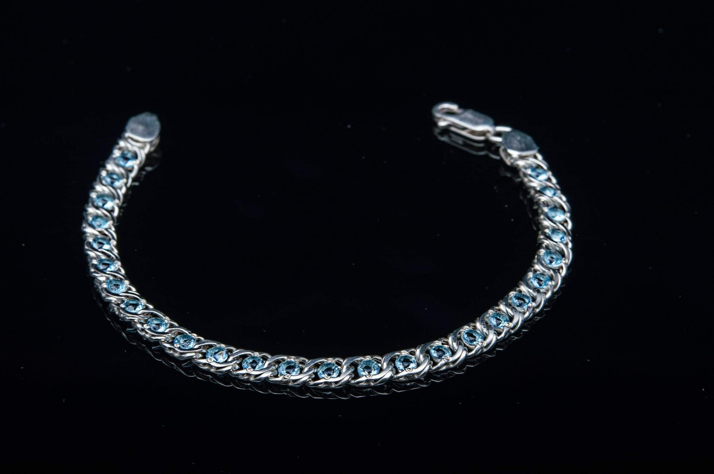 Ancient Smithy VW jewelry Handmade Sterling Silver Bracelet with Blue Cubic Zirconoa Jewelry