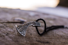 Ancient Smithy VW jewelry Perun's Axe Sterling Silver Pendant with Beautiful Ornament Reconstruction