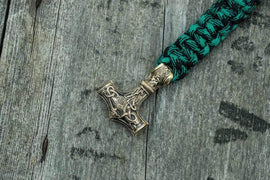 Ancient Smithy VW jewelry Bronze Thors Hammer Green Paracord Handcrafted Bracelet BM-001