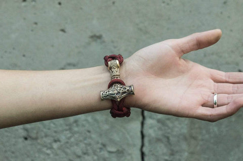 Ancient Smithy VW jewelry Bronze Thors Hammer Red Paracord Handcrafted Bracelet BM-004