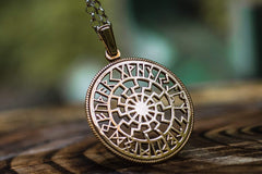 Ancient Smithy VW jewelry Black Sun Symbol with Runic Calendar Bronze Pendant