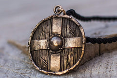 Ancient Smithy VW jewelry Rollo's Shield Pendant Unique Bronze Viking Necklace