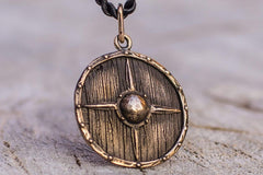 Vikings Shield Necklace Unique Bronze Viking Pendant