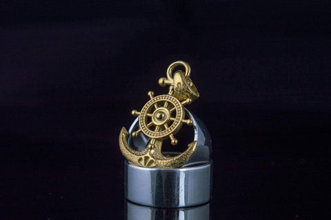 Ancient Smithy VW jewelry Anchor Symbol with Ship Steering Wheel Pendant Gold Handmade Jewelry