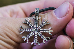Ancient Smithy VW jewelry Aegishjalmur or Helm of Awe Symbol Sterling Silver Pendant