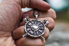 Ancient Smithy VW jewelry Viking Shield with Axes and Runes Sterling Silver Pendant Viking Jewelry