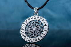 Ancient Smithy VW jewelry Black Sun Symbol with Elder Futhark Runes Sterling Silver Pendant