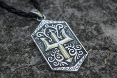 Trident Symbol Pendant Sterling Silver Pagan Jewelry