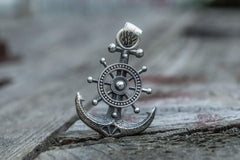 Anchor Symbol with Ship Steering Wheel Pendant Sterling Silver Handmade Jewelry