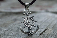 Ancient Smithy VW jewelry Anchor Symbol with Ship Steering Wheel Pendant Sterling Silver Handmade Jewelry