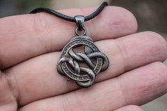 Snake Pendant with Runes and Red Cubic Zirconia Sterling Silver Ruthenium Plated Norse Jewelry