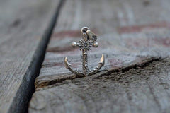 Ancient Smithy VW jewelry Big Anchor Symbol with Ship Steering Wheel Pendant Sterling Silver Norse Jewelry CS082