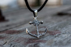 Small Anchor Symbol with Ship Steering Wheel Pendant Sterling Silver Norse Jewelry
