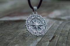 Ancient Smithy VW jewelry Compass Pendant with Ornament Sterling Silver Jewelry CS084