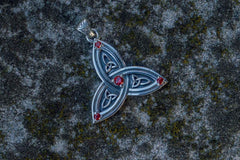 Ancient Smithy VW jewelry Triquetra Symbol Pendant with Red Cubic Zirconia Sterling Silver Celtic Jewelry