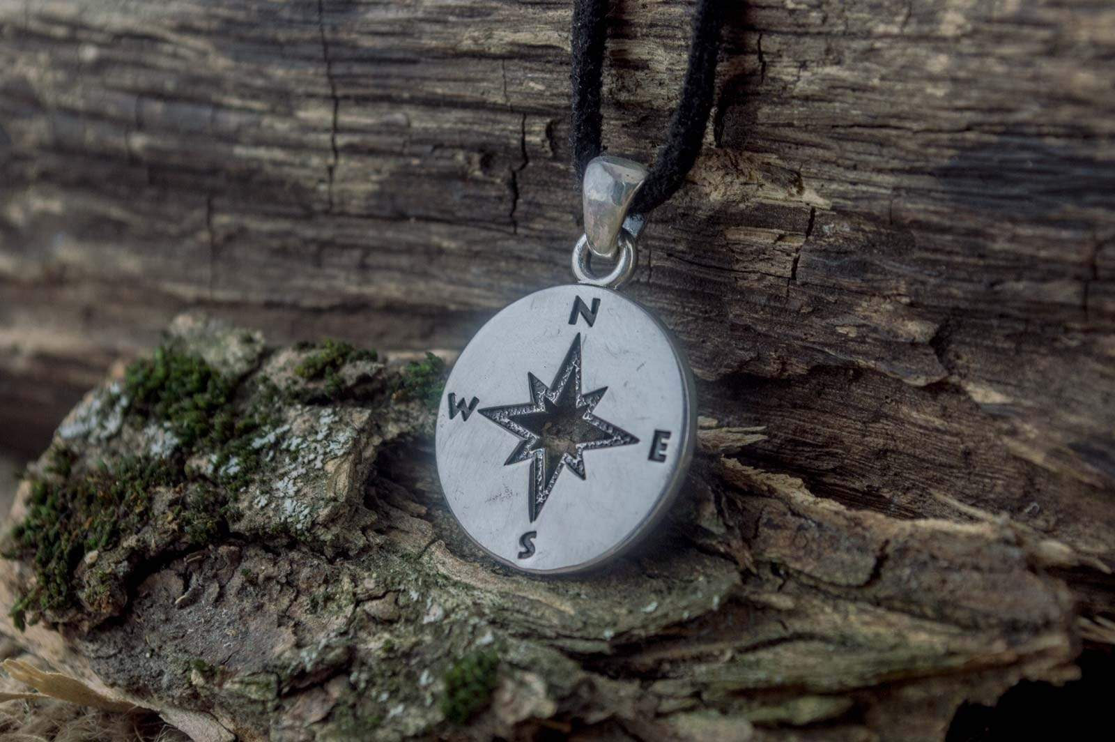 Ancient Smithy VW jewelry Compass Pendant Sterling Silver Unique Handmade Jewelry V02