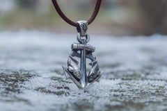 Ancient Smithy VW jewelry Anchor with Fish Pendant Sterling Silver Unique Handmade Jewelry CS097