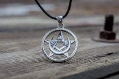 Ancient Smithy VW jewelry Pendant with Pentagram and Moon Symbol Sterling Silver Jewelry CS112