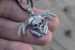 Ancient Smithy VW jewelry Pirate Skull Pendant Sterling Silver Unique Handmade Jewelry CS117
