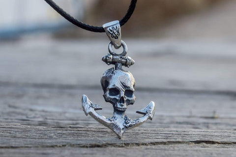 Ancient Smithy VW jewelry Anchor with Skull Pendant Sterling Silver Unique Handmade Jewelry CS118