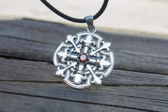 Ancient Smithy VW jewelry Flower Style Pendant with Cubic Zirconia Sterling Silver Handmade Unique Jewelry
